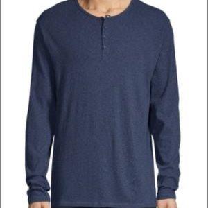 Vince Navy Henley Shirt L EUC